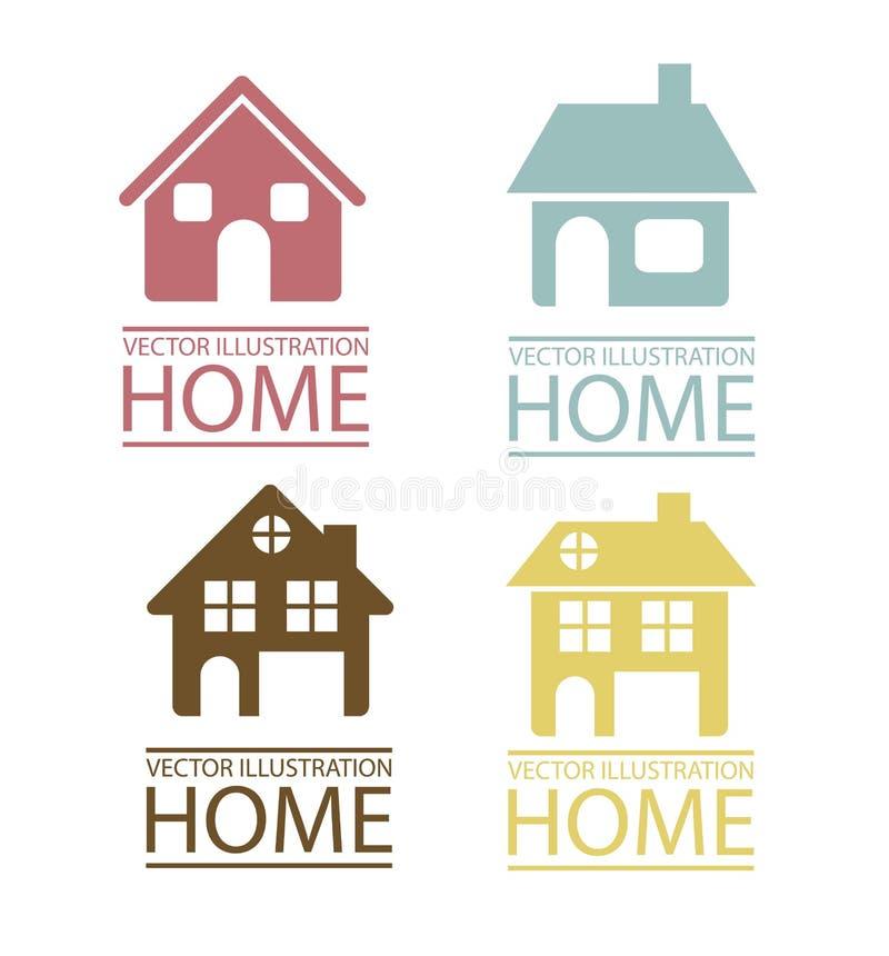 Iconos de las propiedades inmobiliarias y de la casa stock de ilustración