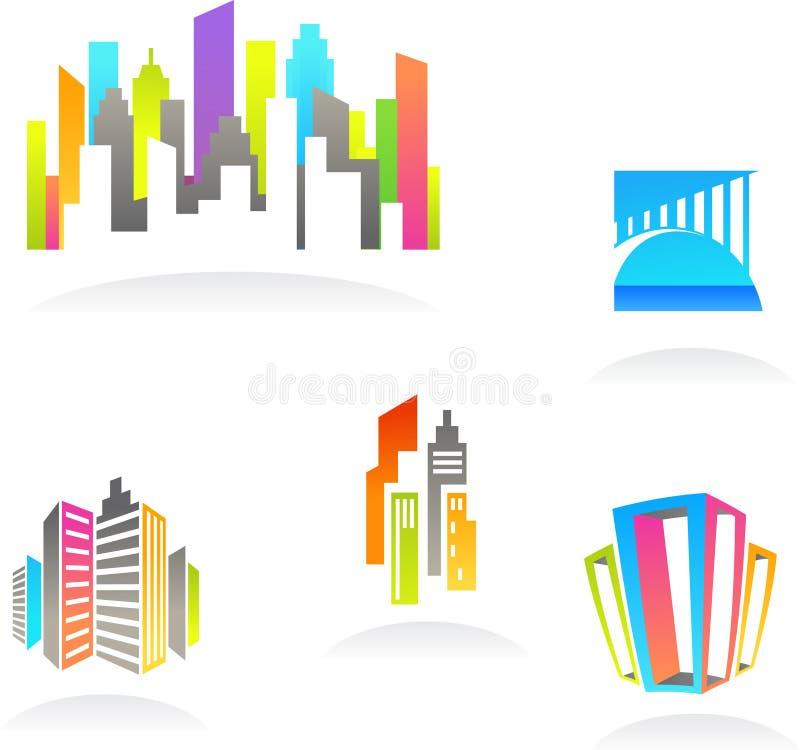 Iconos de las propiedades inmobiliarias y de la construcción/insignias - 3 ilustración del vector