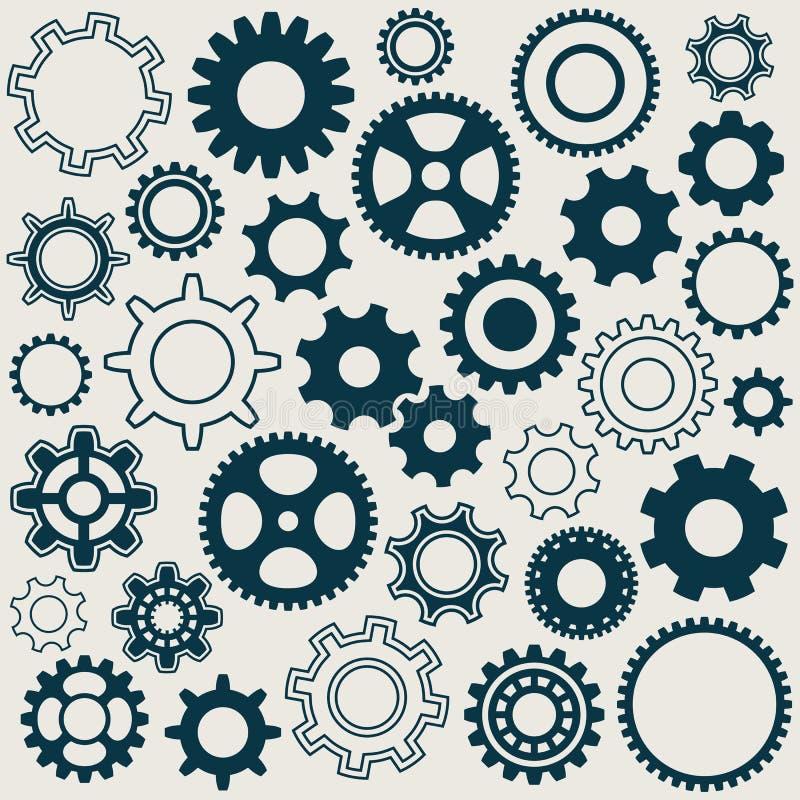 Iconos de las ruedas de engranaje ilustración del vector