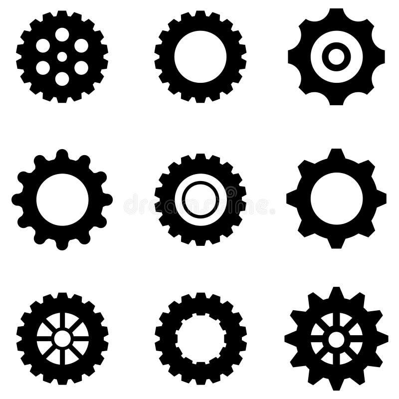Iconos de las ruedas de engranaje fijados foto de archivo libre de regalías