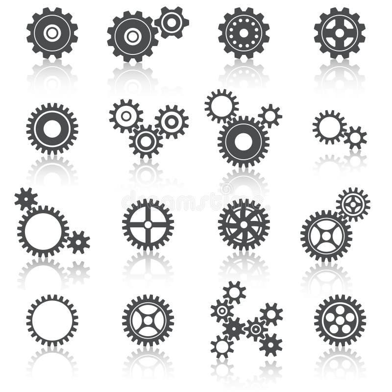 Iconos de las ruedas y de los engranajes de los dientes fijados stock de ilustración