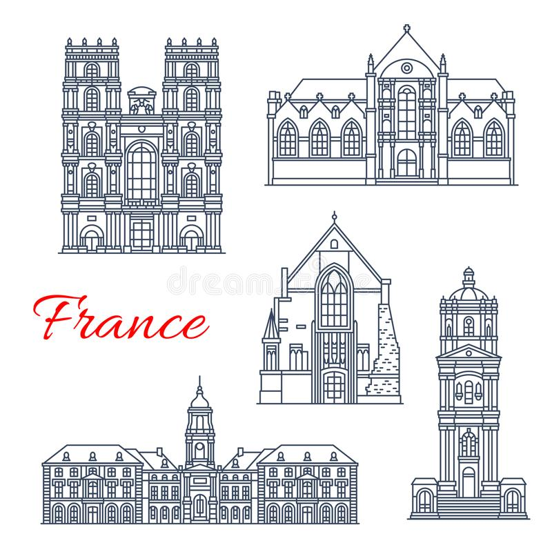 Iconos de las señales de la arquitectura del vector de Francia Rennes ilustración del vector
