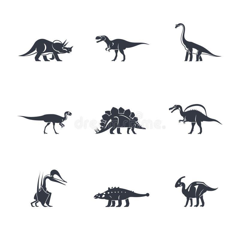 Iconos de las siluetas de los dinosaurios libre illustration