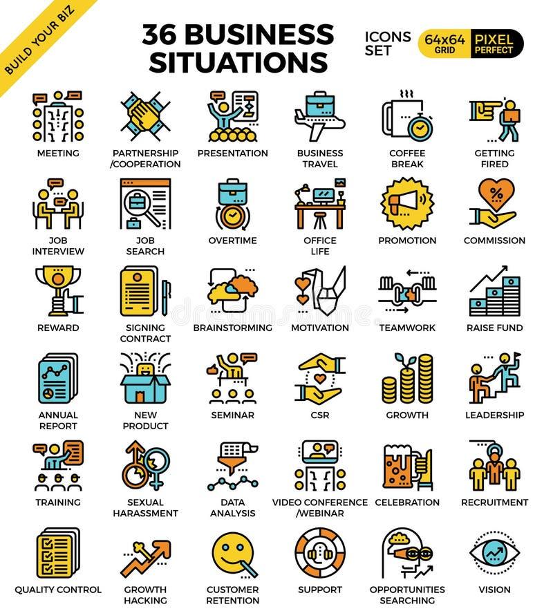 Iconos de las situaciones de negocio ilustración del vector
