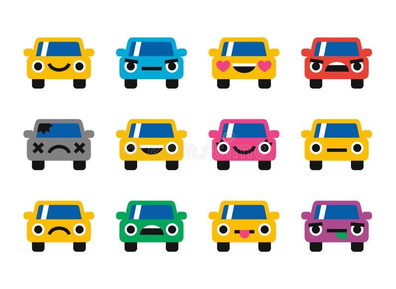 Iconos de las sonrisas del emoticon del coche fijados stock de ilustración