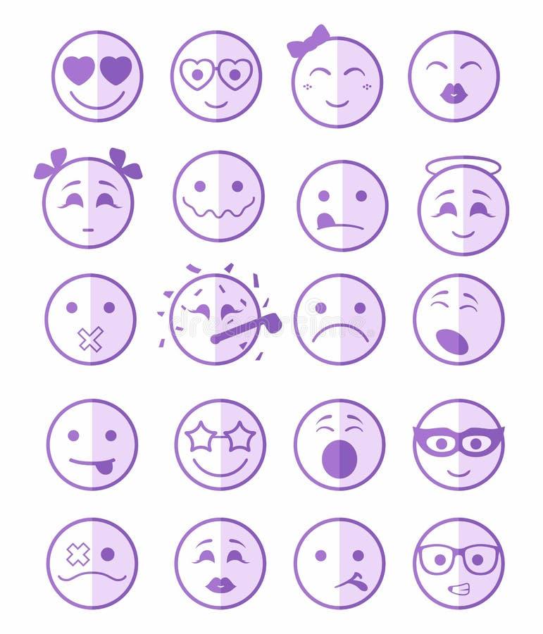 20 iconos de las sonrisas fijaron púrpura del niño media libre illustration
