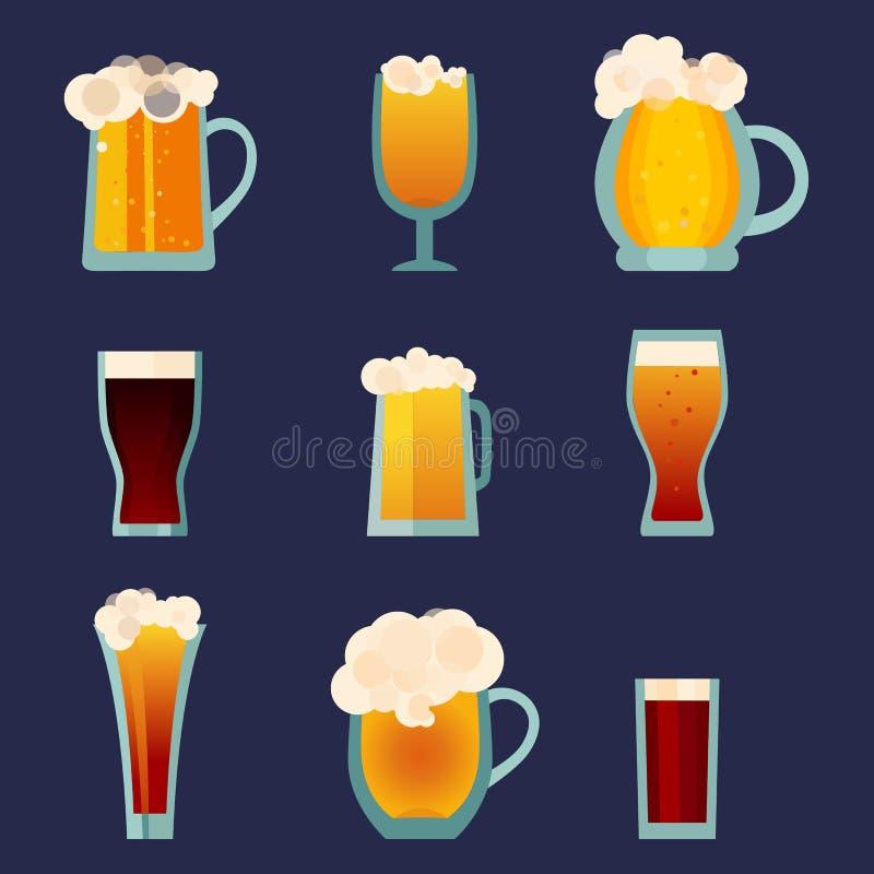 Iconos de las tazas del vidrio de cerveza fijados Logotipo de la botella de cerveza Etiqueta de la cerveza, taza de cerveza Colec stock de ilustración