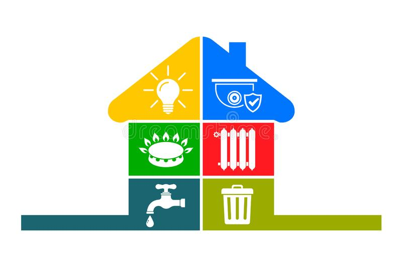 """Iconos de las utilidades en estilo plano: agua, gas, iluminación, calefacción, teléfono, basura, vector del †de la seguridad """" libre illustration"""