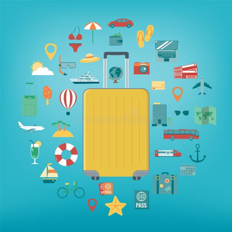 Iconos de las vacaciones fijados Vacaciones de verano Viaje y turismo Vector stock de ilustración