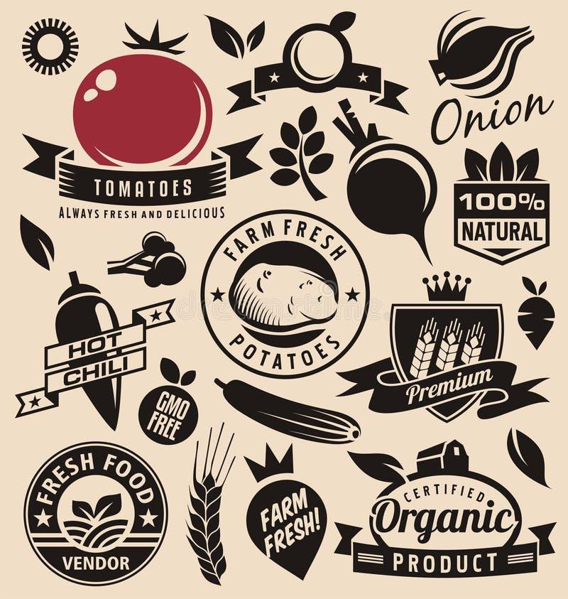 Iconos de las verduras, etiquetas, muestras, símbolos, disposiciones del logotipo y elementos del diseño stock de ilustración