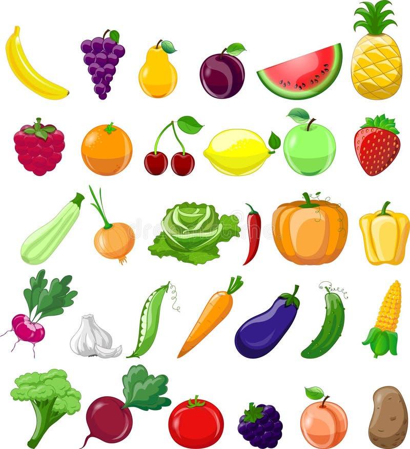 Iconos de las verduras y de las frutas de la historieta libre illustration