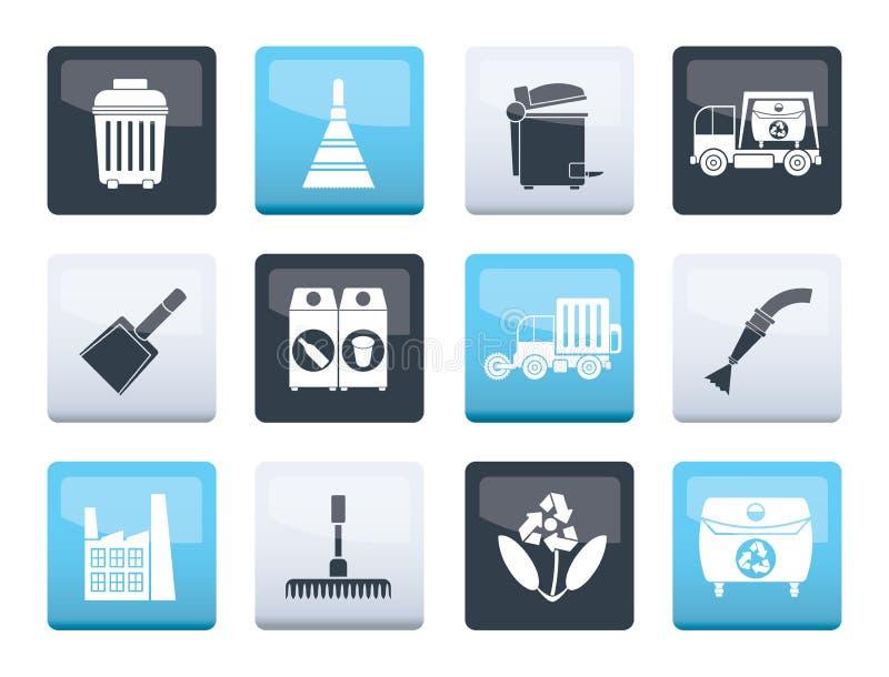 Iconos de limpieza de la industria y del ambiente sobre fondo del color ilustración del vector