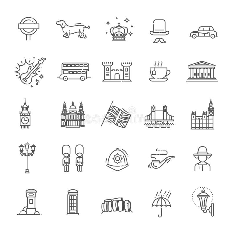 Iconos de Londres fijados Inglaterra, línea fina diseño stock de ilustración