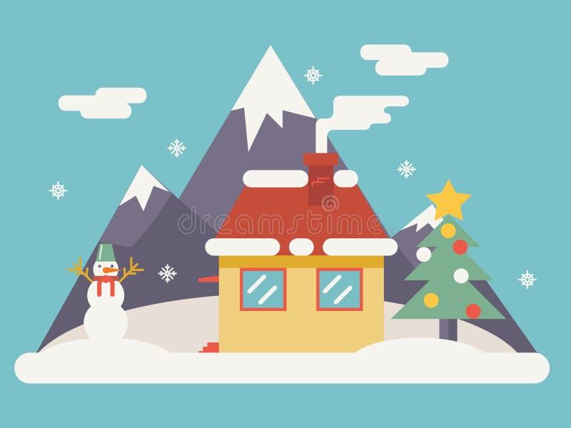 Iconos de los accesorios de la Navidad del paisaje del Año Nuevo stock de ilustración