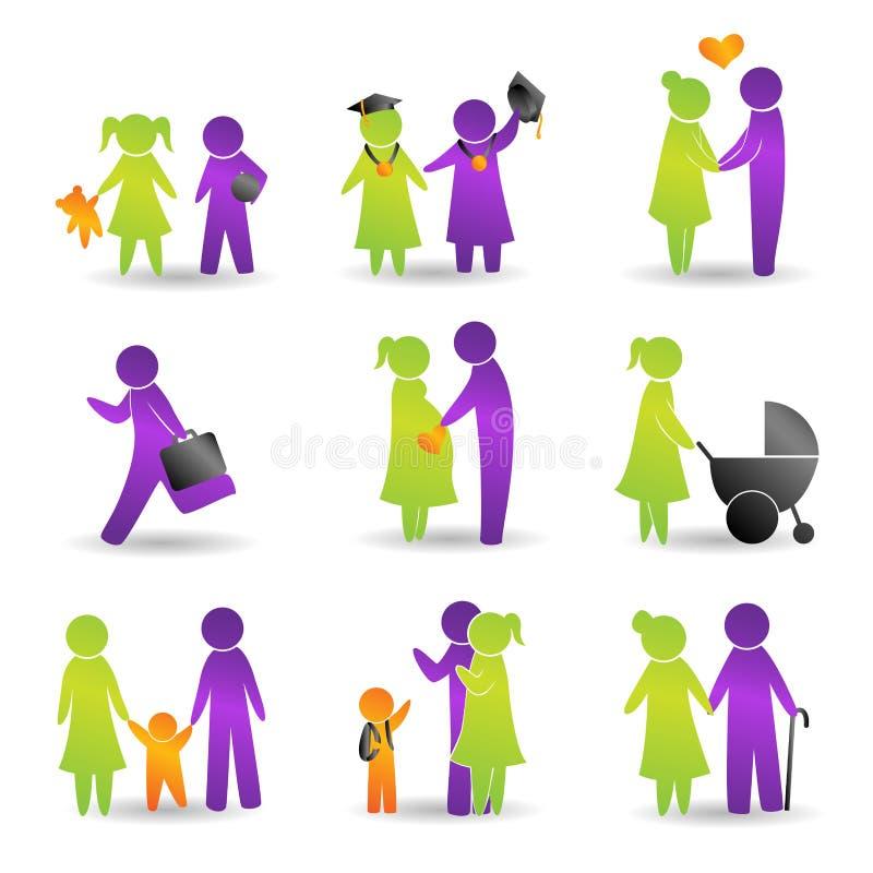 Iconos de los acontecimientos de vida libre illustration