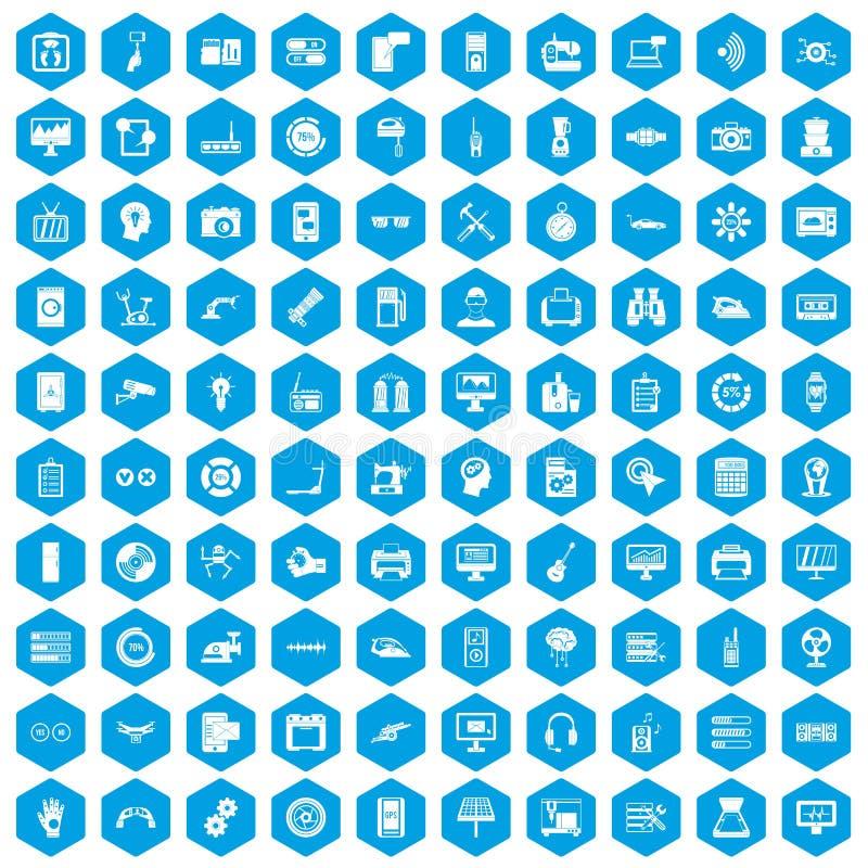 100 iconos de los ajustes fijados azules libre illustration