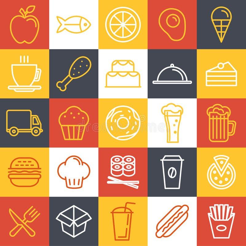 Iconos de los alimentos de preparación rápida del vector stock de ilustración
