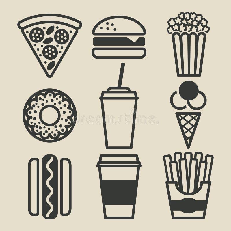 iconos de los alimentos de preparación rápida fijados libre illustration