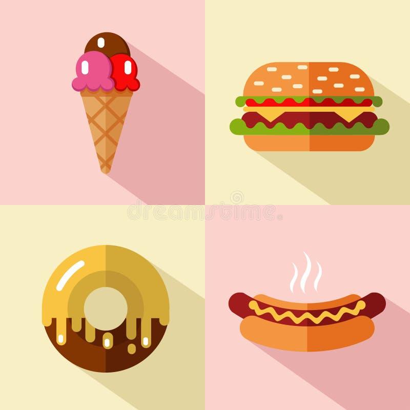 Iconos de los alimentos de preparación rápida y del postre ilustración del vector