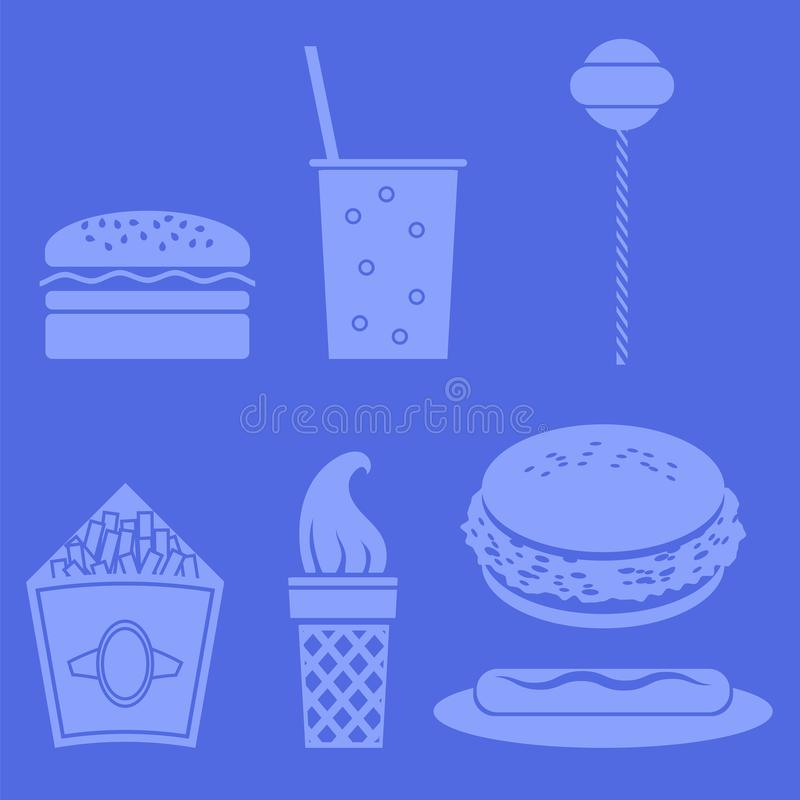 Iconos de los alimentos de preparación rápida ilustración del vector