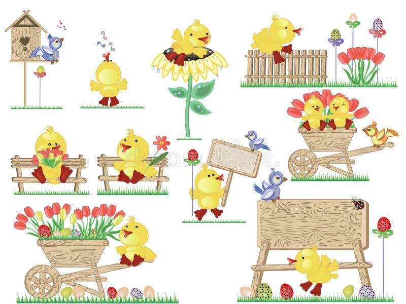 Iconos de los anadones de Pascua ilustración del vector