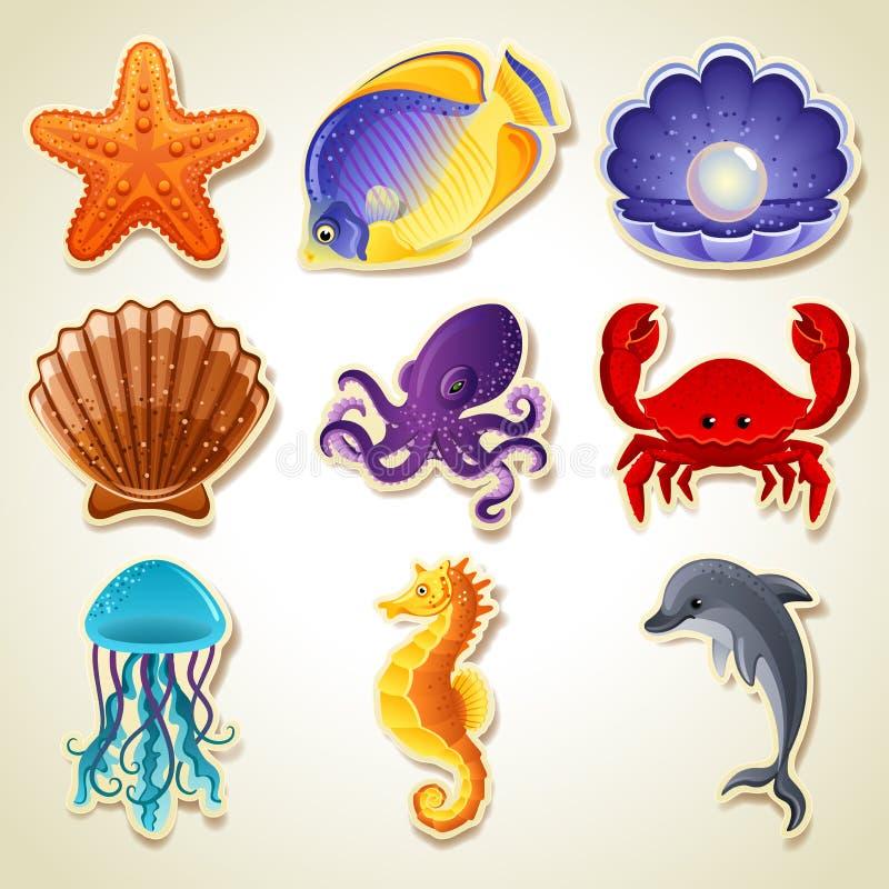 Iconos de los animales de mar stock de ilustración