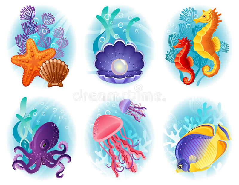 Iconos de los animales de mar ilustración del vector
