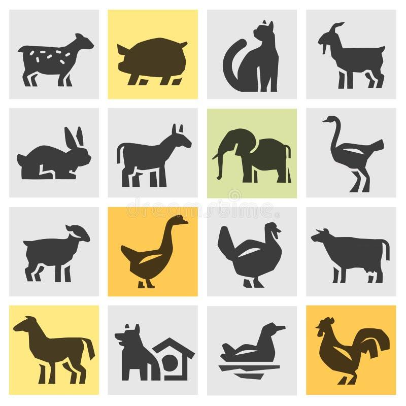 Iconos de los animales del campo fijados Muestras y símbolos stock de ilustración