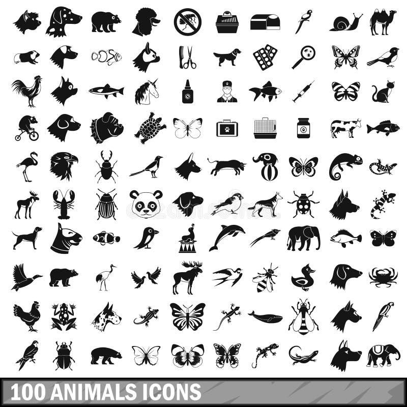 100 iconos de los animales fijados en estilo simple stock de ilustración
