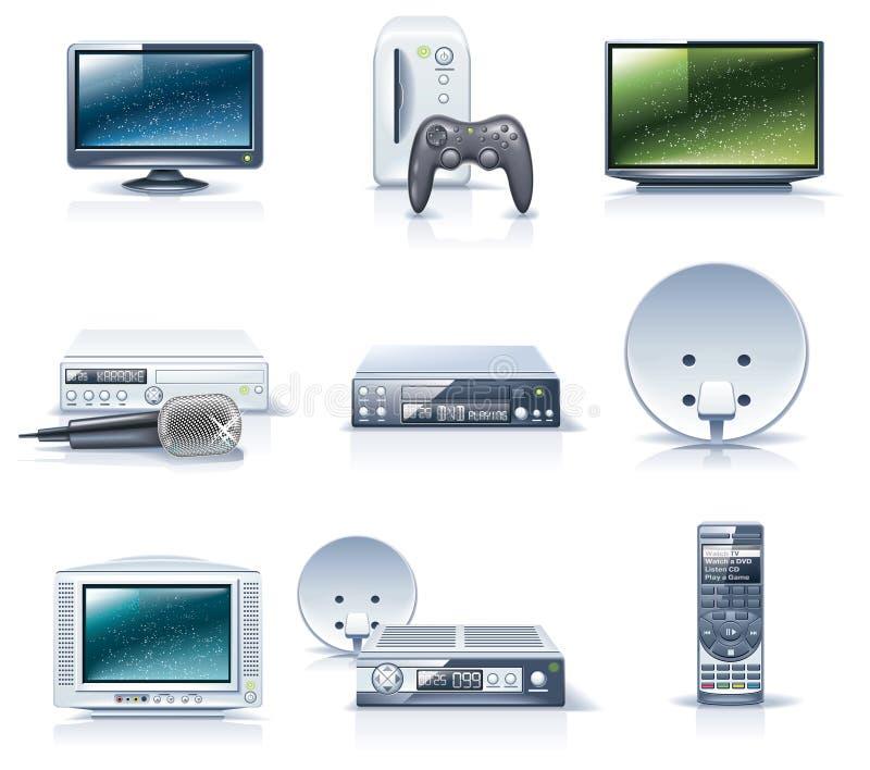 Iconos de los aparatos electrodomésticos del vector. Parte 6 ilustración del vector