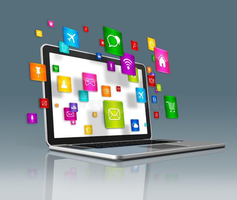 Iconos de los apps del ordenador portátil y del vuelo en un fondo futurista ilustración del vector