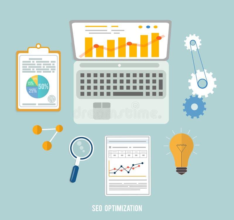 Iconos de los artículos del negocio, del seo y de la educación ilustración del vector