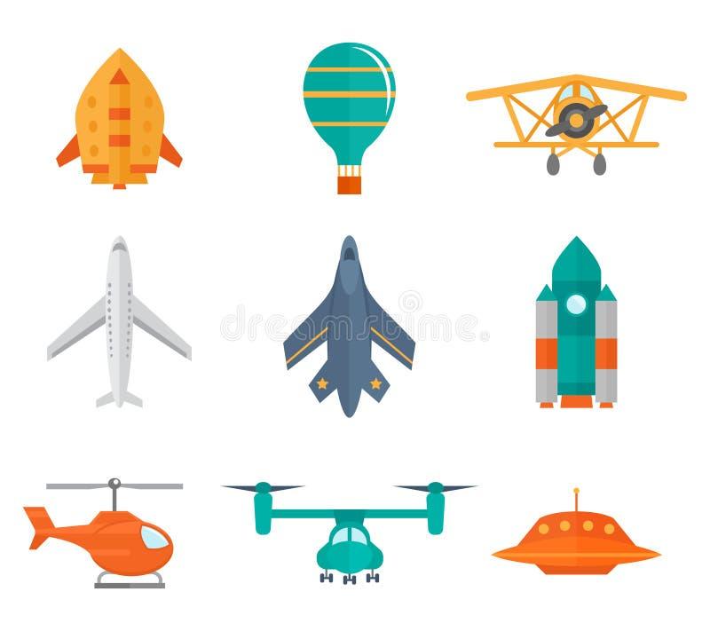 Iconos de los aviones planos stock de ilustración