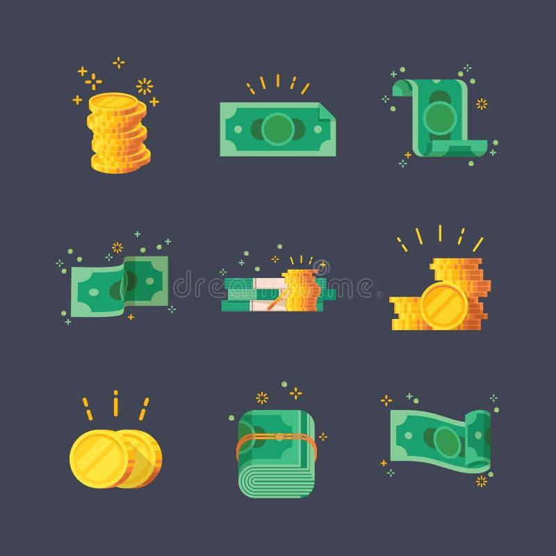 Iconos de los billetes de banco del dólar con las monedas de oro stock de ilustración