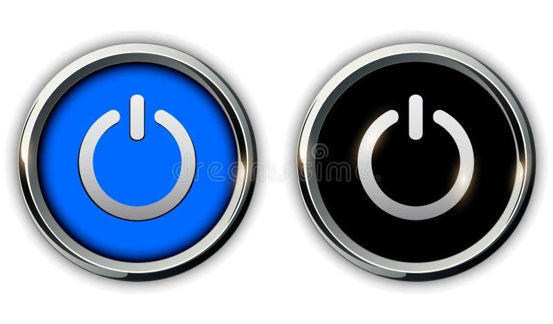 Iconos de los botones de encendido stock de ilustración