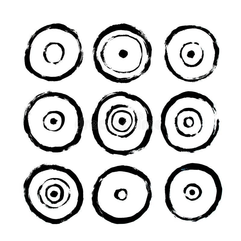 Iconos de los círculos Cartel interior abstracto a imprimir Estilo sucio exhausto del Grunge de la mano libre illustration