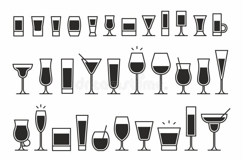 Iconos de los cócteles ilustración del vector