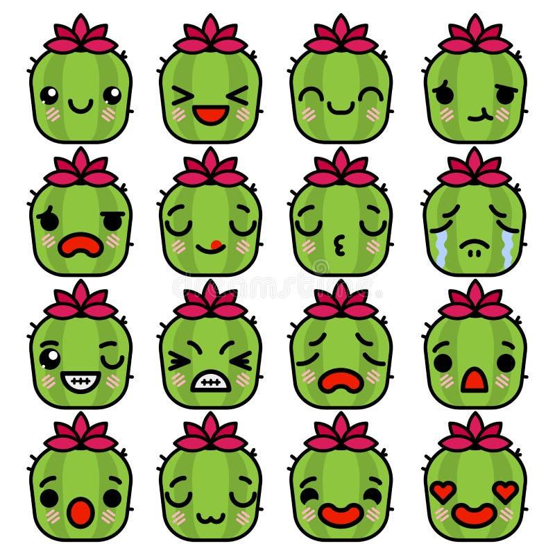Iconos de los cactus de Emoji fijados con diverso ejemplo del vector de las emociones ilustración del vector