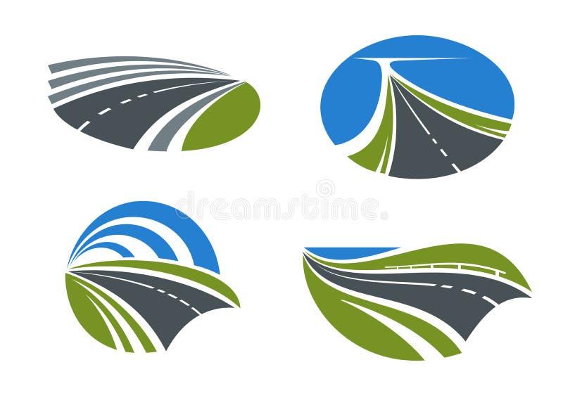 Iconos de los caminos y de las carreteras con paisajes de la naturaleza libre illustration