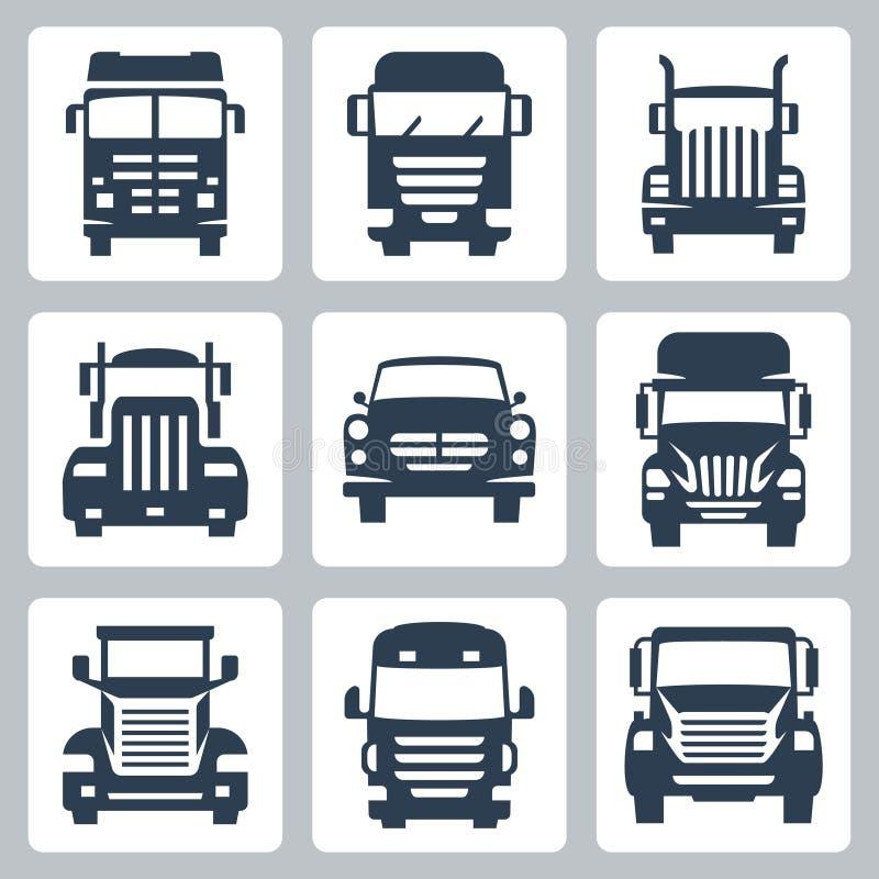 Iconos de los camiones del vector fijados: vista delantera ilustración del vector
