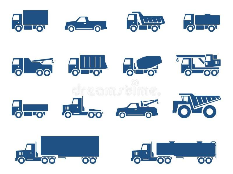 Iconos de los camiones fijados ilustración del vector