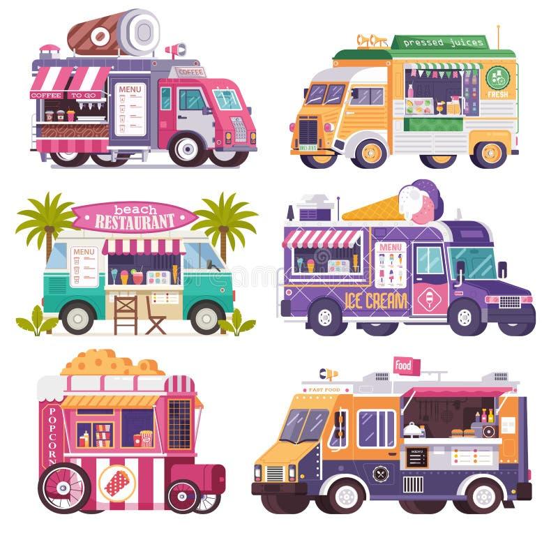 Iconos de los camiones y de las furgonetas de la comida de la calle ilustración del vector