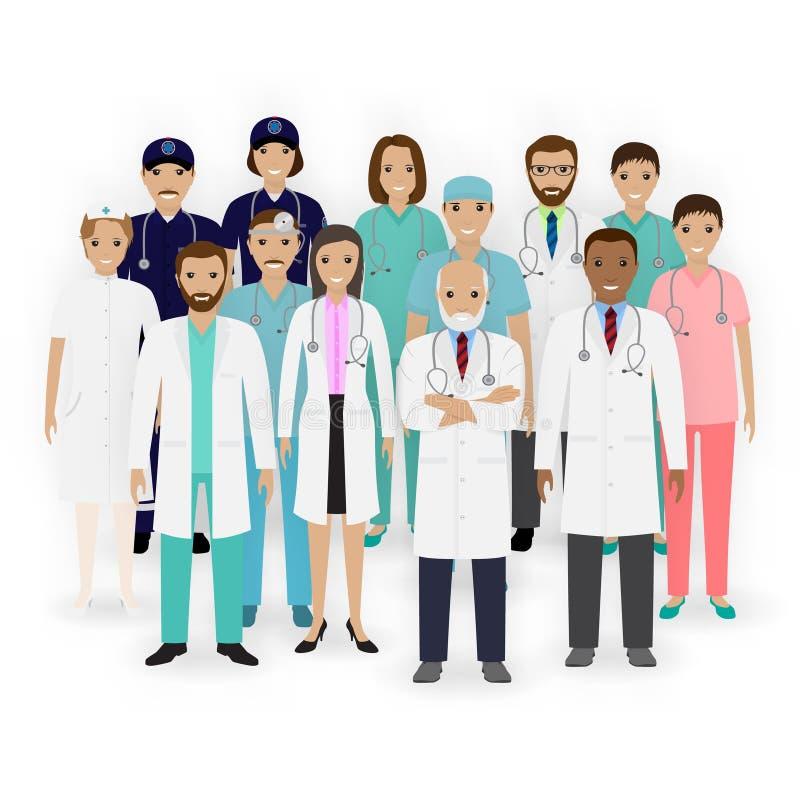 Iconos de los caracteres de los doctores, de las enfermeras y de los paramédicos Grupo de personal médico Personas del hospital B ilustración del vector