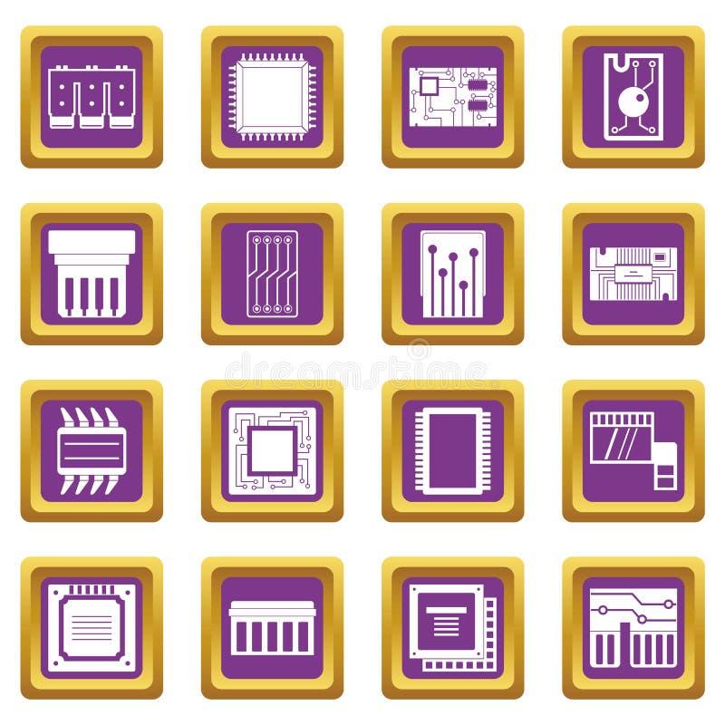 Iconos de los chips de ordenador fijados púrpuras ilustración del vector