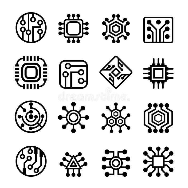 Iconos de los chips de ordenador y del circuito electrónico fijados stock de ilustración
