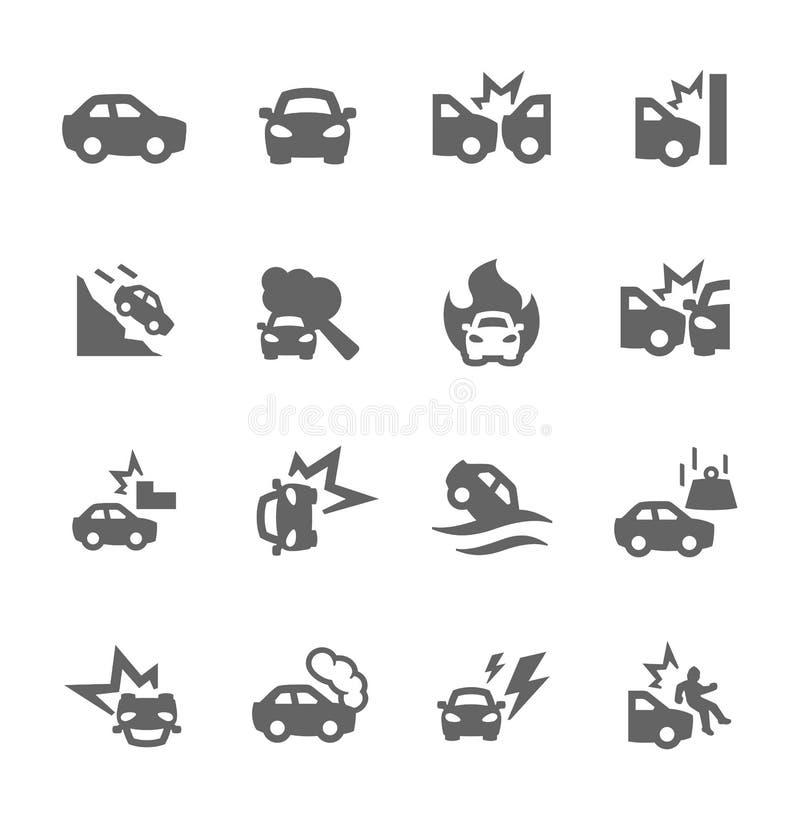 Iconos de los choques de coche stock de ilustración