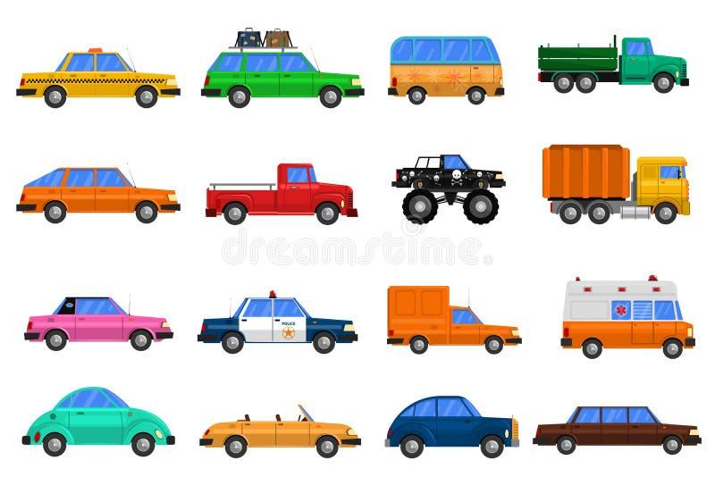 Iconos de los coches fijados ilustración del vector