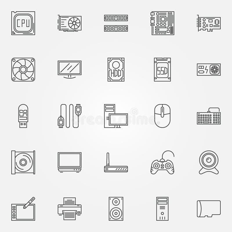 Iconos de los componentes de ordenador fijados libre illustration