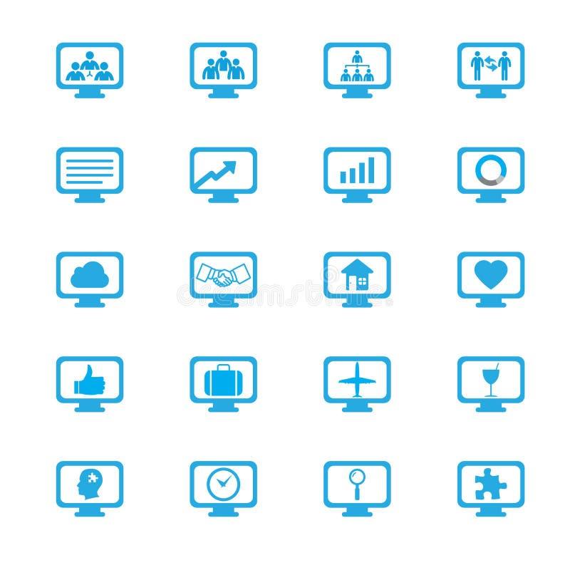 Iconos de los conceptos de la innovación del negocio fijados stock de ilustración