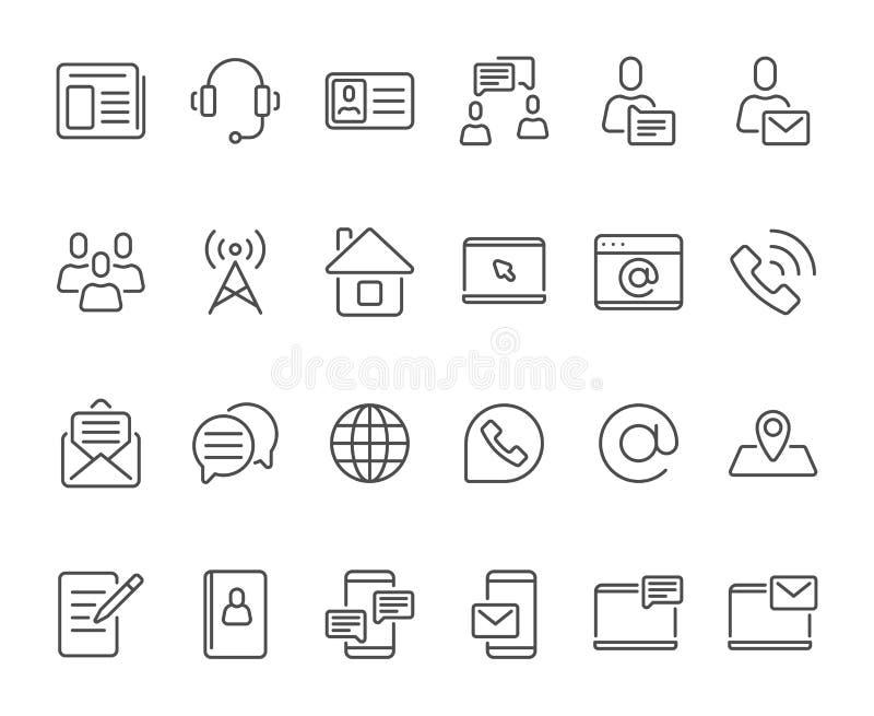 Iconos de los contactos del esquema Icono del contacto del teléfono móvil, correo electrónico y línea sistema del buzón nuevos de ilustración del vector